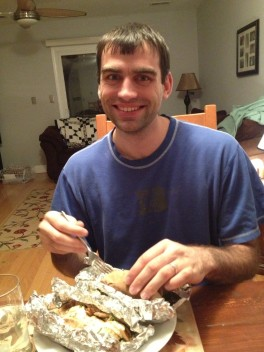 Ben with Greek Chicken Gyros!