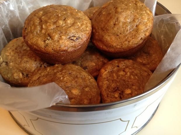 Oatmeal Applesauce Raisin Muffins
