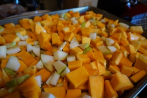 Ready to roast squash and pear