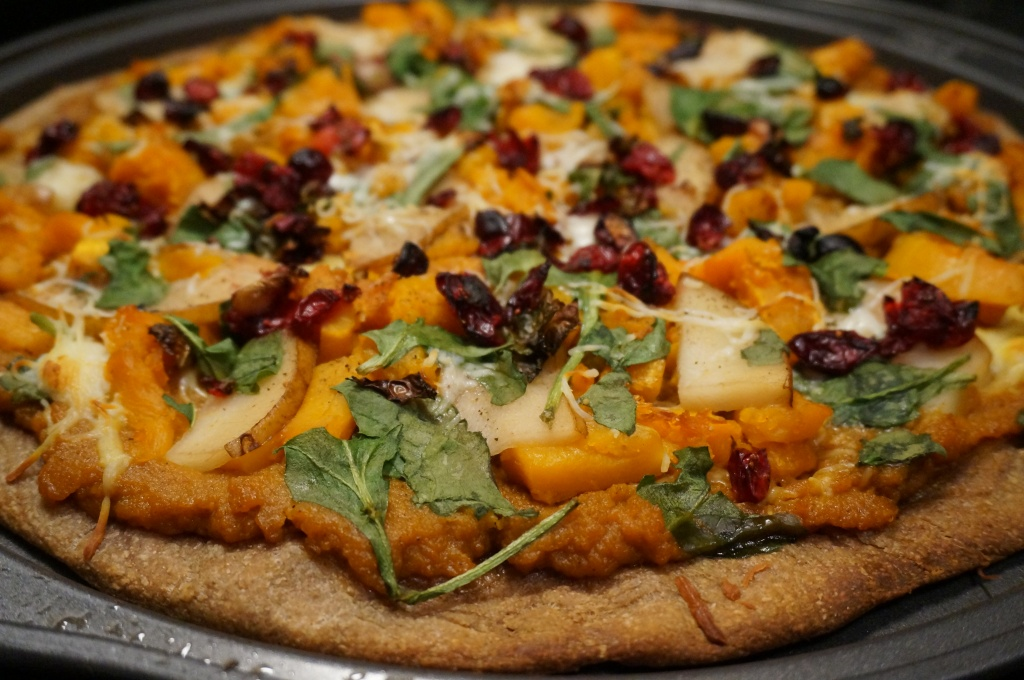 Roasted Butternut Squash, Pear, and Cranberry Pizza w/ Pumpkin Sauce & Fontina Cheese