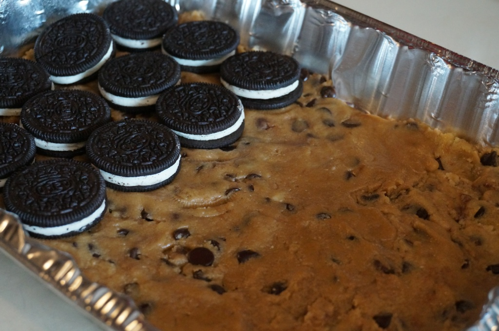 Layer oreos on top of cookie dough. Slash, that stuffing is NOT joking around.