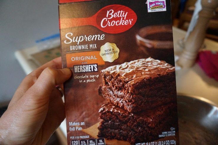 I always choose this brownie mix with the squeeze-in Hershey's fudge pouch!