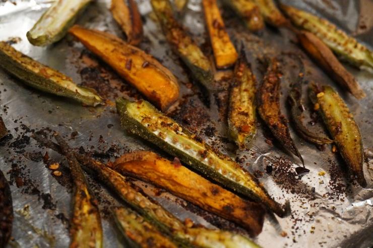 Roasted Okra and Sweet Potato Wedges