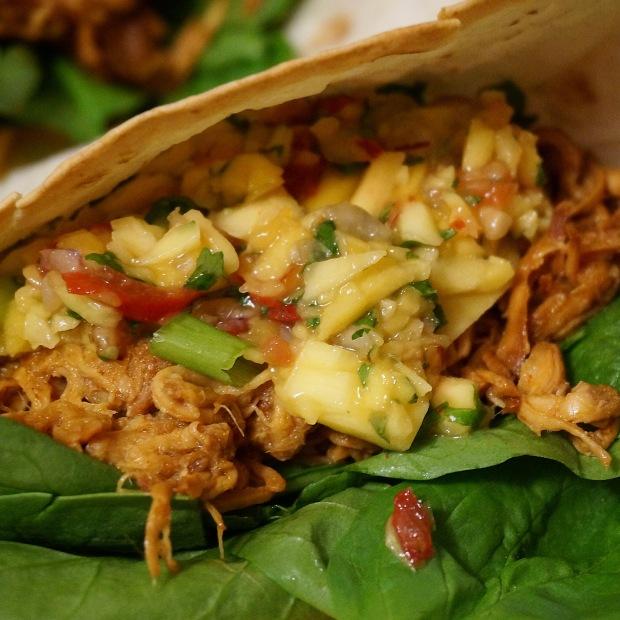Mole Chicken Tacos w/ Mango-Pineapple Salsa