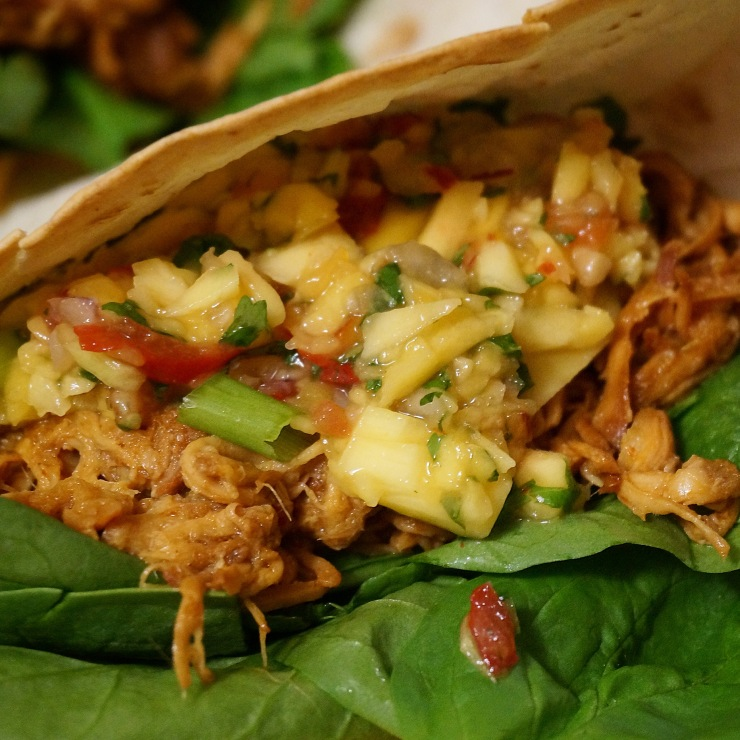 Mole Chicken Tacos w/ Mango-Pineapple Salsa