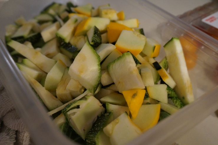 Prep your chopped veggies. Pictured here is some leftover squash and zucchini from a friend's mother's farm! Yay Summer.