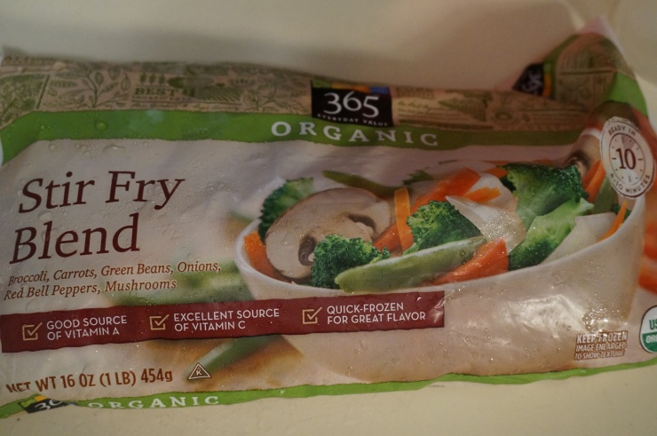 I used some of this frozen stir-fry blend from Whole Foods to bulk up the dish a bit (I thought I wouldn't have enough...)