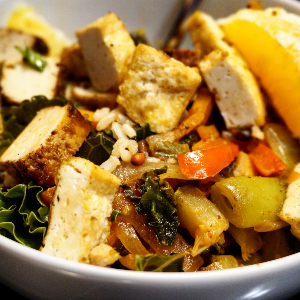 Serve over rice with tofu or other protein of your choice!