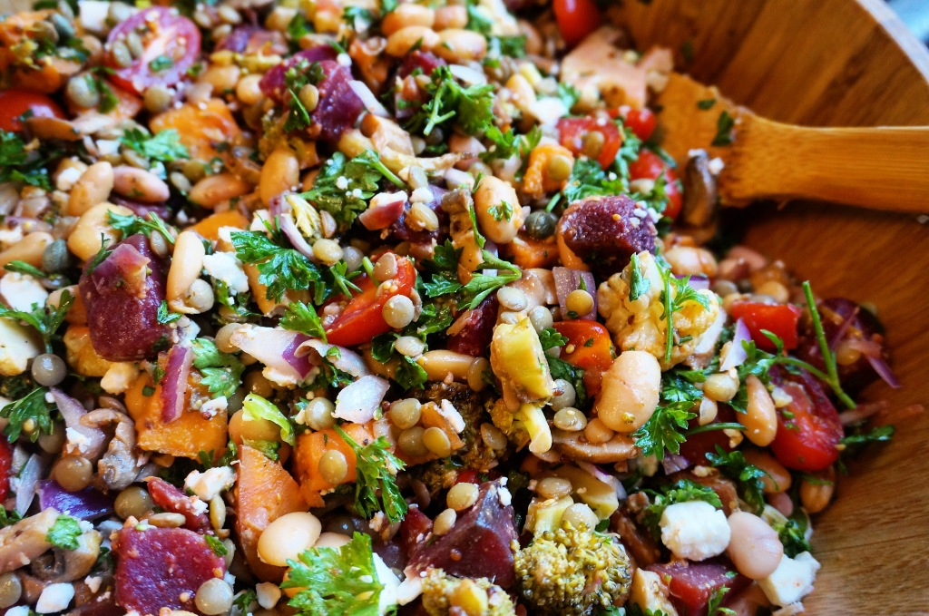 Lentil Curry Salad with Roasted Veggies & Lemon Vinaigrette