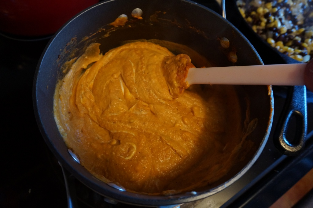 Heat sweet potato mixture with cream cheese and spices.