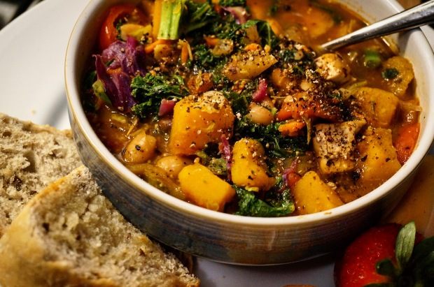 Roasted Butternut Squash, Apple, & White Bean Stew