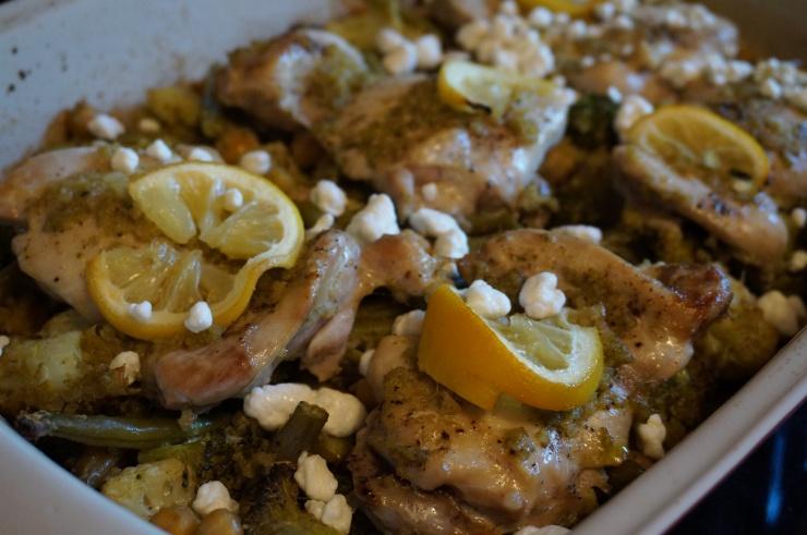 Lemon Pesto Chicken and Bean Bake