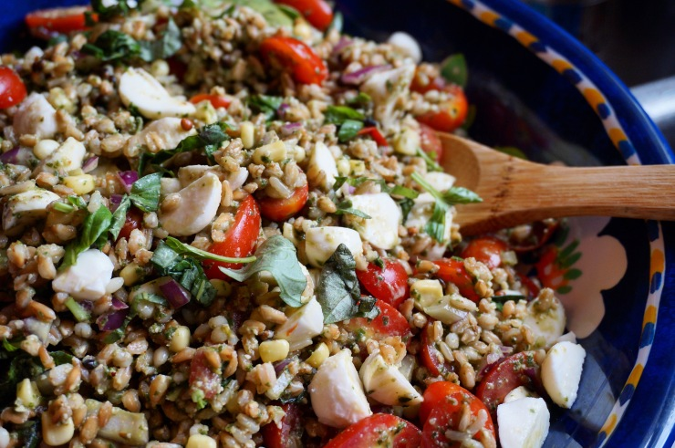Farro Caprese Salad w/ Lemon Pesto Vinaigrette