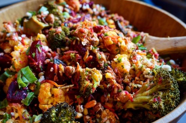 Crispy Chickpea & Beet Farro Salad