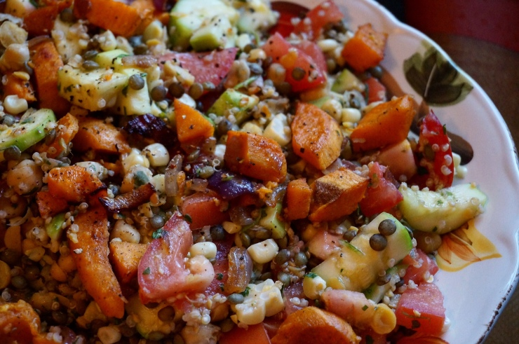 Roasted Sweet Potato and Summer Veggie Salad w/ Chickpeas and Lemon-Parsley Vinaigrette