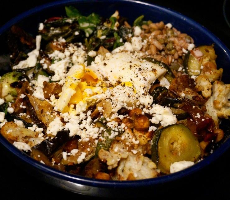 Roasted Zucchini Curried Cauliflower Grain Bowl