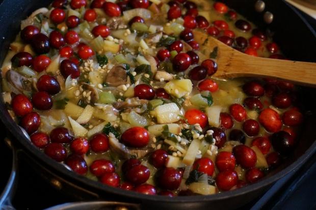 Saute veggies, herbs and cranberries until tender.