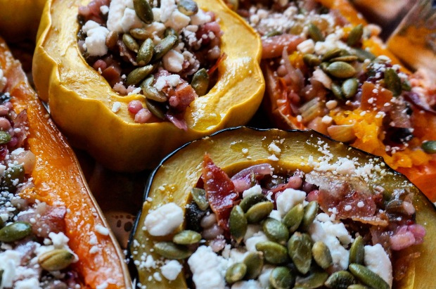 Stuffed Squash w/ Cranberry Barley Risotto and Pepitas